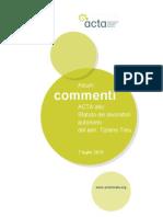 """Commento ACTA allo """"Statuto dei lavori autonomi"""" (Disegno di Legge TREU)"""