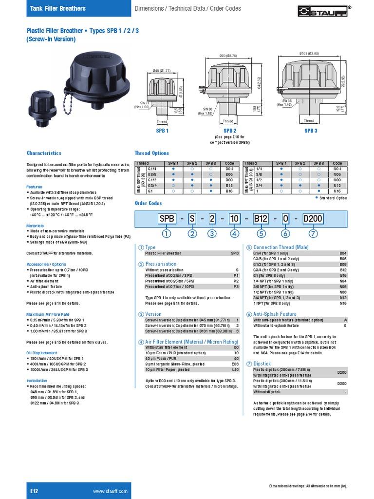 Stauff-E12-E26 - Hydraulic Accessories Tank Filler Breathers