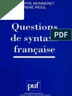 305573526 Philippe Monneret Rene Rioul Questions de Syntaxe Francaise