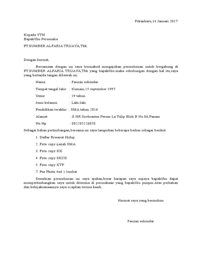 Surat Lamaran Alfamart Pekanbaru Docx