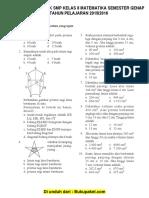 Soal UKK Matematika Kelas 8 SMP