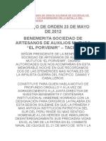 Discurso de Orden de Sesion Solemne de Sociedad de Artesanos Por 132 Aniversario de La Batalla Del Campo de La Alianza