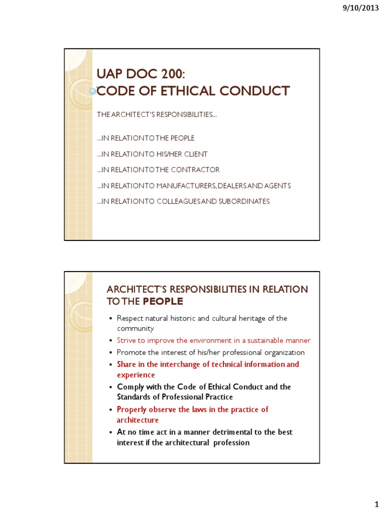 Code of Ethical Conduct (1) | Architect | General Contractor