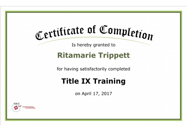 title certificate ix completion training document