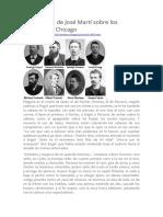 Una Crónica de José Martí Sobre Los Mártires de Chicago
