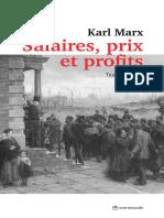 Karl Marx Salaires Prix et Profits