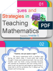 Techniques and Strategies in Teaching Math
