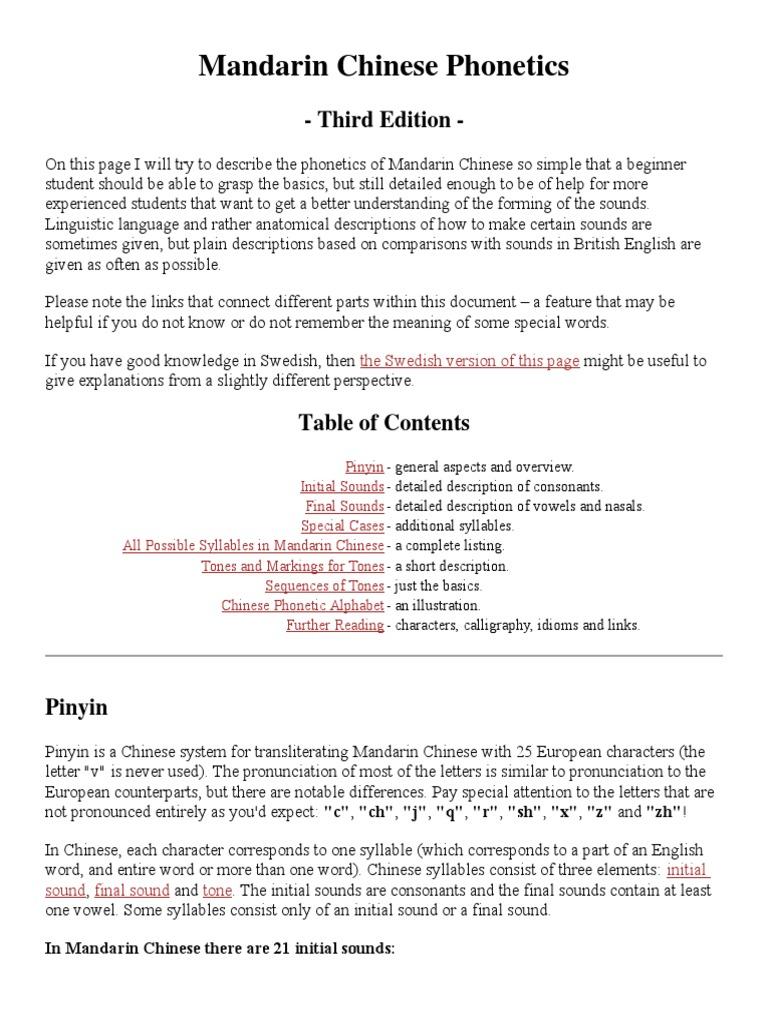 Mandarin Chinese Phonetics Doc Pinyin Chinese Language