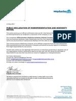 Maphorisa Communications - Public Declaration of Misrepresentation and Indemnity Notice