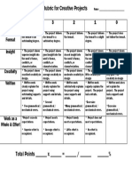 Rubric for Creative Projects