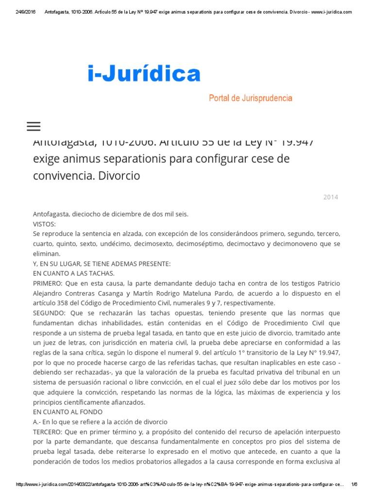 CA - Animo Separacion en Divorcio, Determinacion Presuncion ...