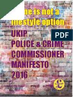 UKIP POLICE & CRIME COMMISSIONER MANIFESTO 2016