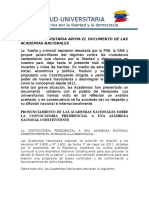 MUD-UNIVERSITARIA  respalda pronunciamiento de Academias Nacionales sobre convocatoria presidencial de una Constituyente