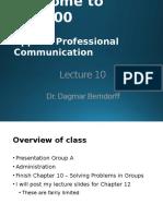 APC 100 167 YC,YF,YS Lecture 10 Ch 10 & Ch 12 Writing Speeches