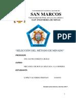 SELECCION DEL METODO DE MINADO