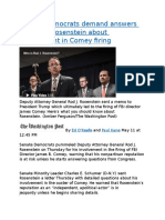 Senate Democrats demand answers from Rod Rosenstein about involvement in Comey firing.docx
