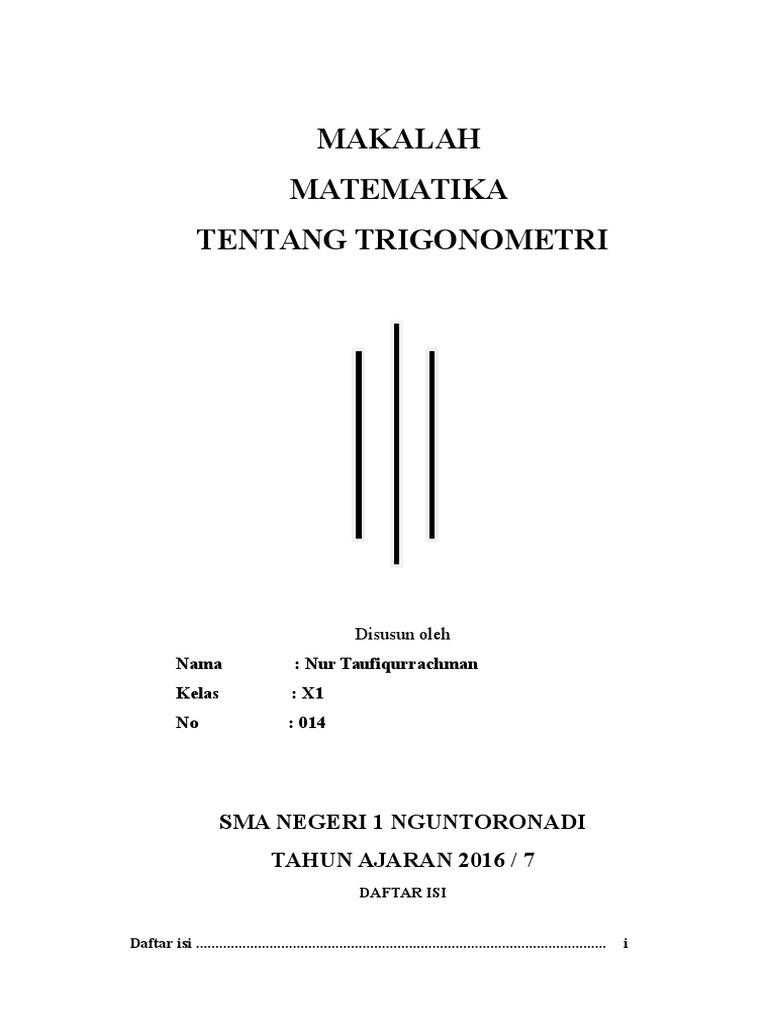 Makalah Matematika Sma Contoh Makalah