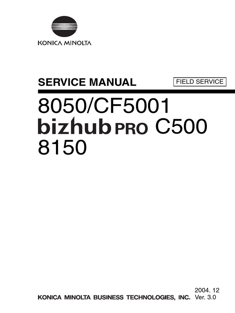 Konica Minolta 8050 Cf5001 Bizhub Pro c500 8150 Field Service Manual | Ac  Power Plugs And Sockets | Electrical Connector