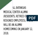 Calling All Batangas Medical Center Alumni