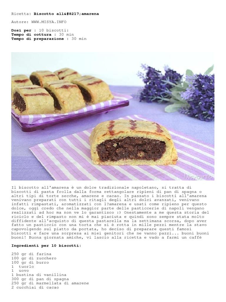 Libro Le Ricette Di Misya biscotto all8217amarena di misya