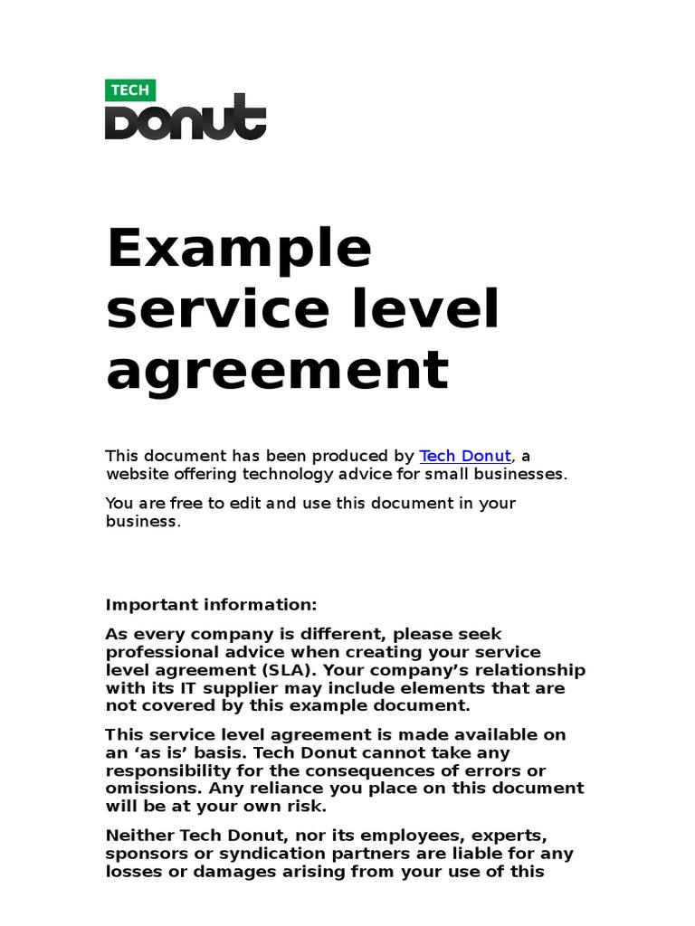 Service Level Agreement Service Level Agreement Desktop Computer