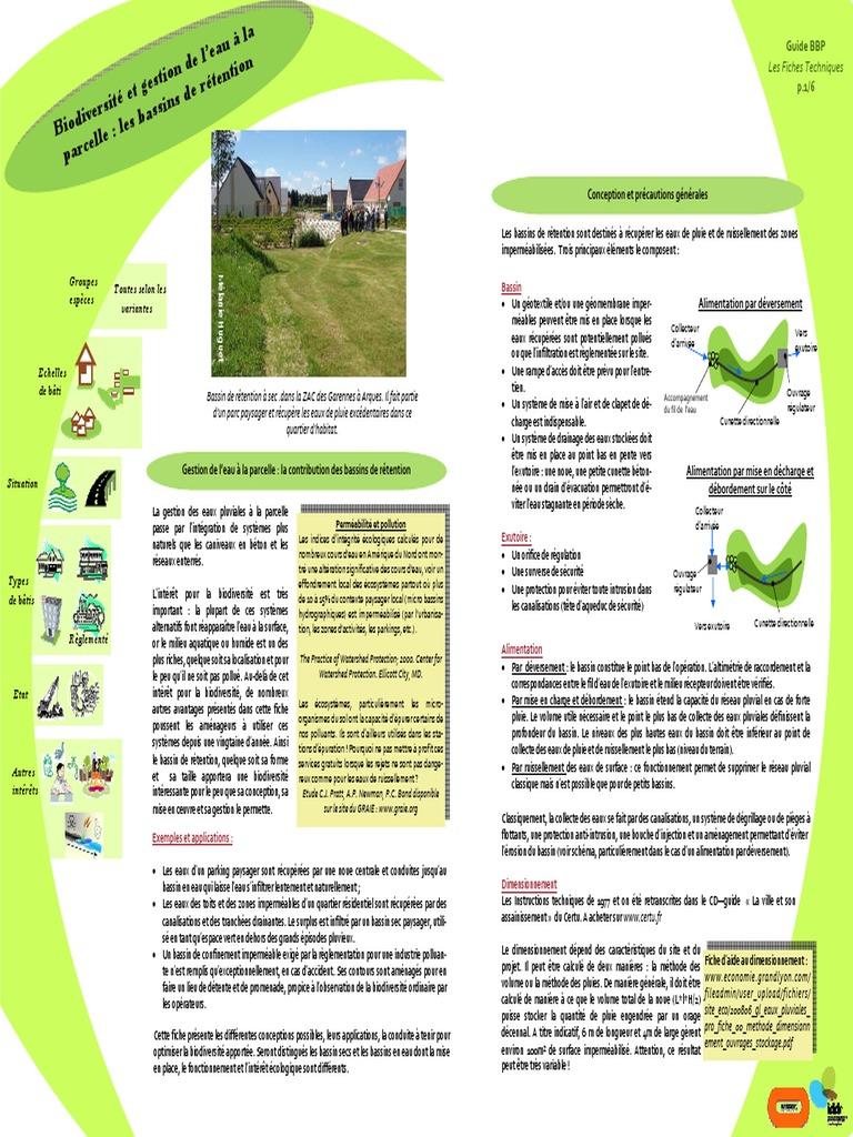 Gestion De Leau à La Parcelle Bassins De Rétention 4 Avril