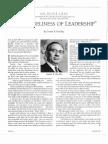 The Loneliness of Leadership - Gordon B. Hinckley