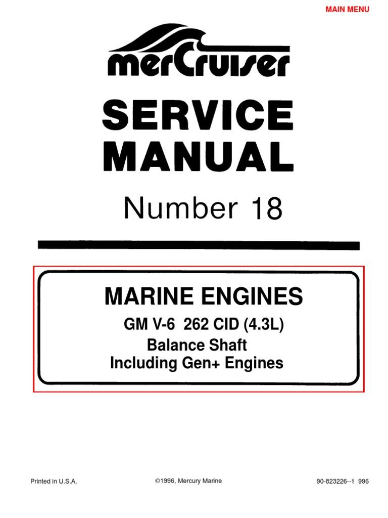 merc service manual 18 4 3 engines gasoline internal combustion rh scribd com 3.0 Mercruiser Starter Wiring Mercruiser 3.0 Oil Capacity