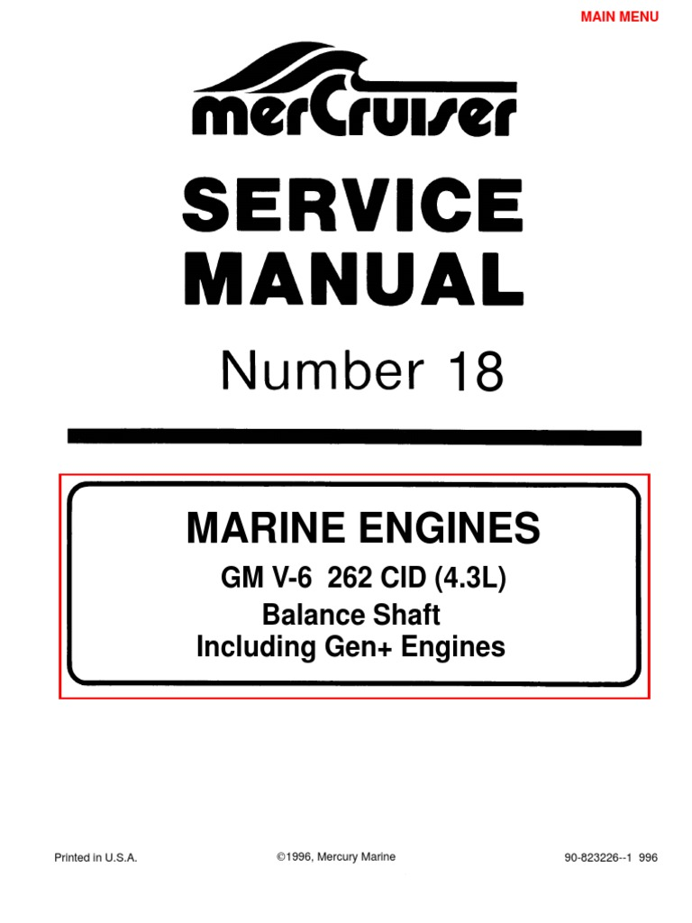 Merc Service Manual 18 4.3 Engines | Gasoline | Internal Combustion Engine