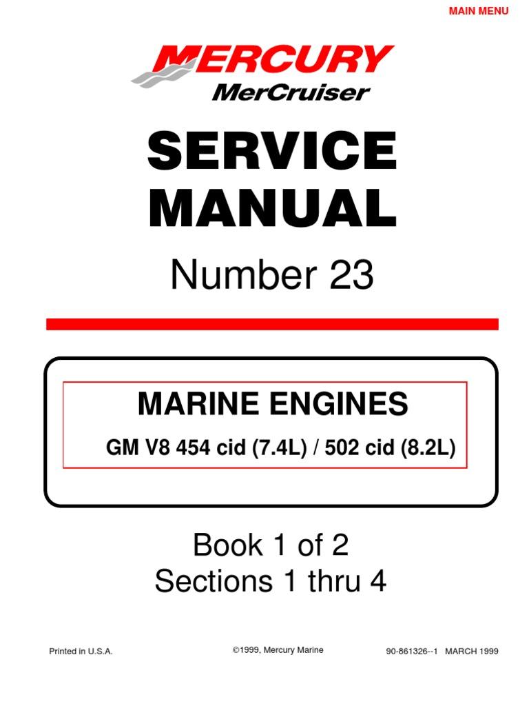 merc service manual 23 454 502 engines gasoline internal rh scribd com Mercruiser Sterndrive Parts Mercruiser Cooling System