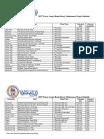 2017 Wayne County Roads Heavy Maintenance Project Schedule