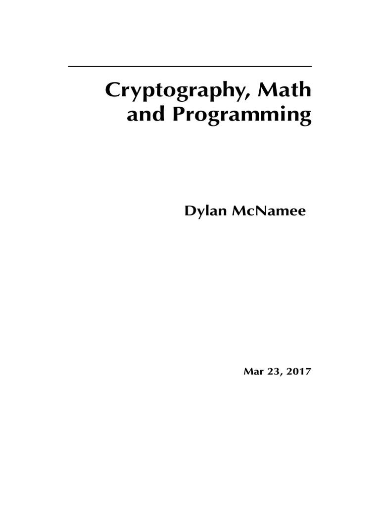 Cryptography Math And Programming