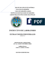 Instructivo de Laboratorio Extracciones Industriales 2do Semestre 2016