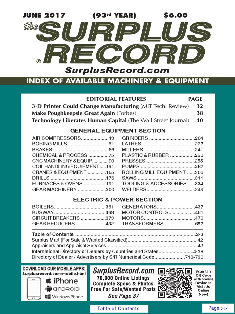 JUNE 2017 Surplus Record Machinery & Equipment Directory Omc Shaker Sprint Wiring Schematic on