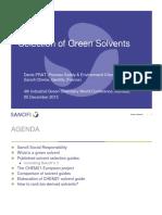 Selection of Green Solvents - Dr. Denis Prat