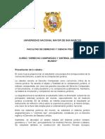 Curso Derecho Comparado y Sistemas Jurídicos Del Mundo - Presentación
