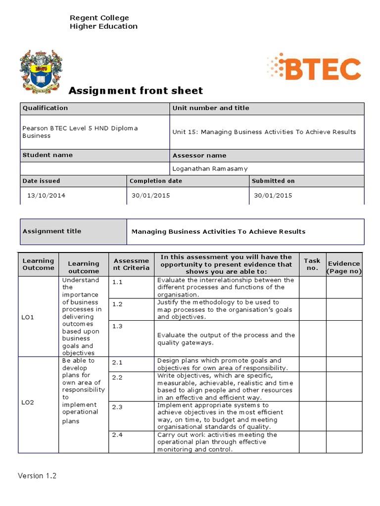 Unit 15 Assignment Brief