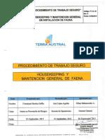 Procedimiento de Trabajo Seguro - Houses Keeping y Mantención General de Faena .pdf