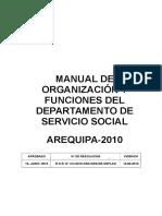 Manual de Organización y Funciones Del Departamento de Servicio Social