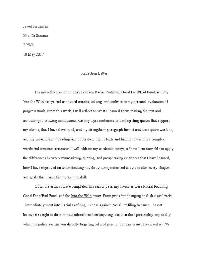 Reflectionletter essays paragraph
