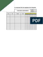 Registro de Uso Mensual de Los Equipos de Cómputo