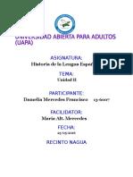Tarea II Historia de La Lengua Española Damelia Mercedes