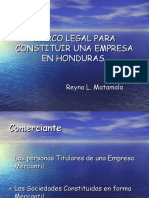 Marco Legal Para Constituir Una Empresa en Honduras