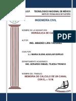 Memoria de Cálculo de Un Canal Es a 10 Mts. (Ing. Amadeo Lira Vázquez  y L.I. María Elena Aguilar Espejo