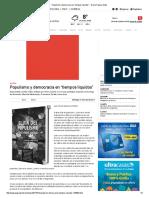 """Populismo y Democracia en """"Tiempos Líquidos"""" - Diario Pagina Siete"""