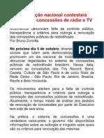 Mobilização nacional contestará sistema de concessões de rádio e TV
