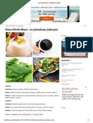 Dieta Kliniki Mayo Przykladowy Jadlospis