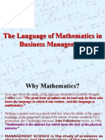 Language of Maths in Management
