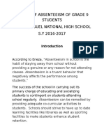 Causes of Absenteeism of Grade 9 Students