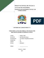 PRACTICA DE LABORATORIO - IDENTIFICACION DE FIBRAS TEXTILES